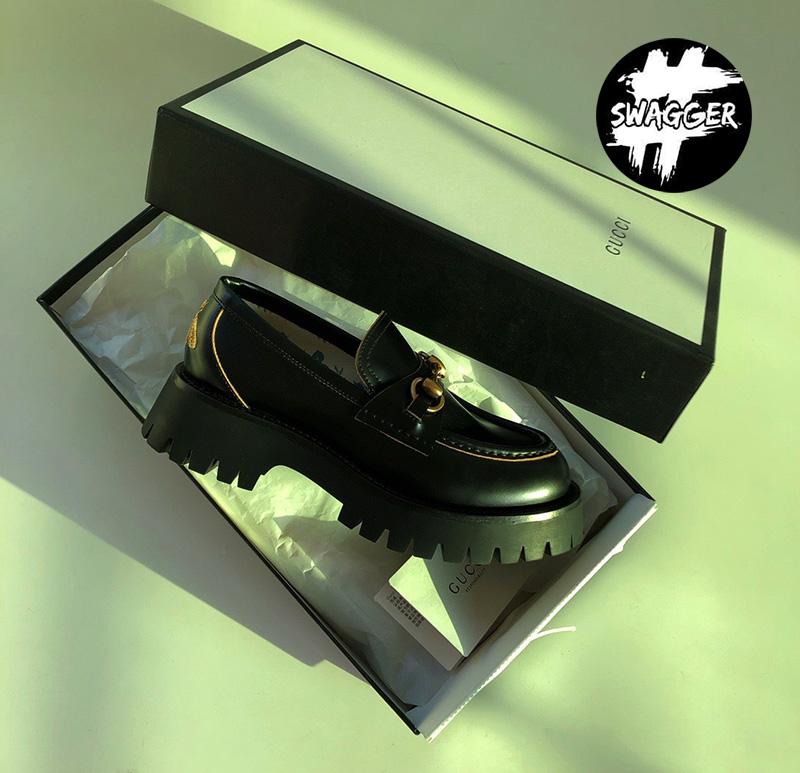Giày Gucci Leather Lug Sole Loafers Like Auth chất lượng tương đương hãng full box và phụ kiện