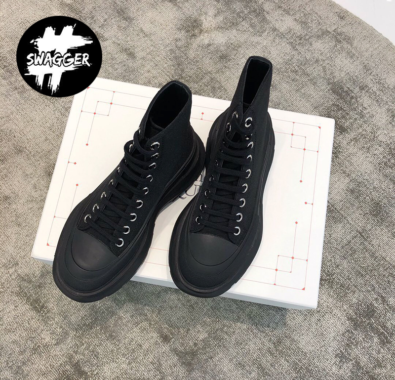 Giày Alexander Mcqueen Chunky Sole High Black Like Auth 1