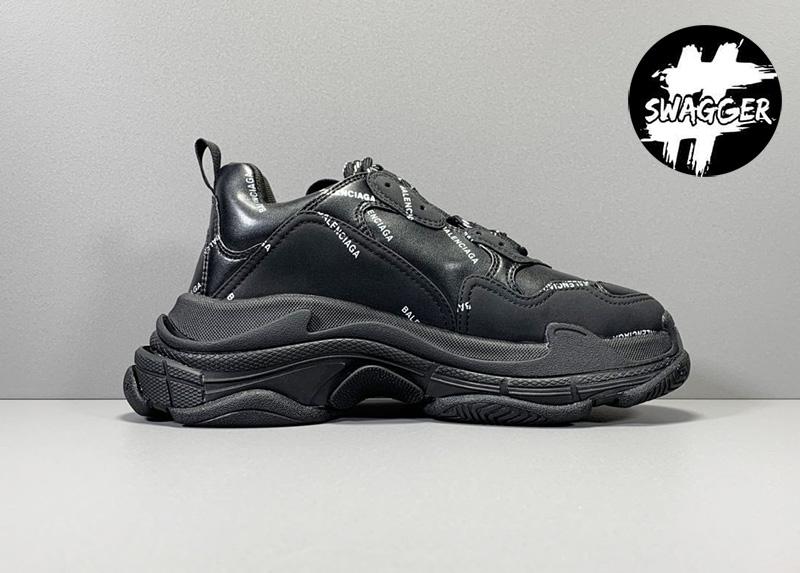 Giày Balenciaga Triple S Allover Logo Black bản mới nhất 2020 chuẩn 99.9% so với chính hãng