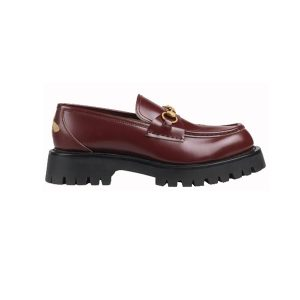 Giày Gucci Leather Lug Sole Loafers Red Like Auth