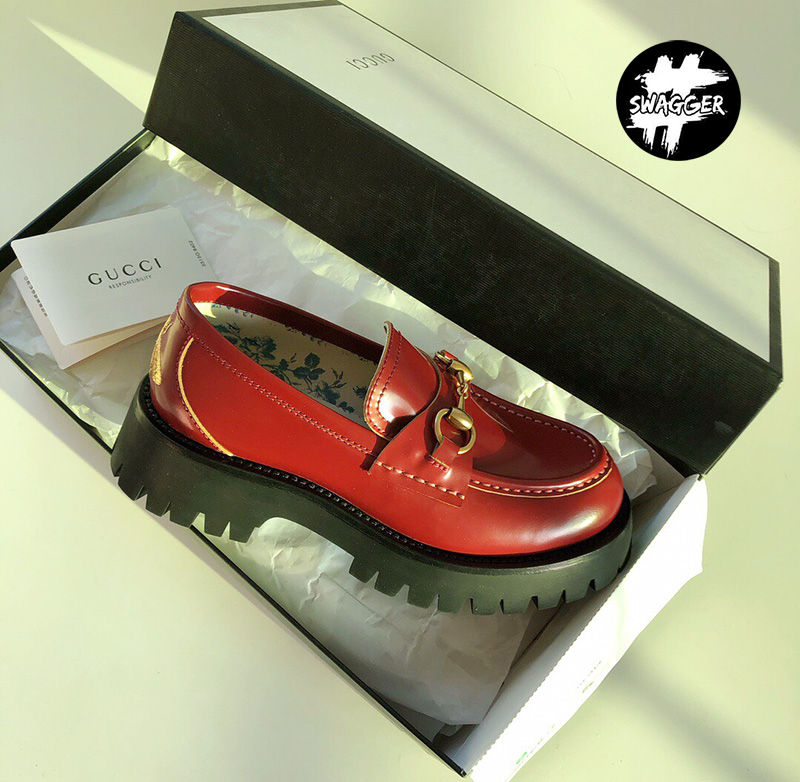 Giày Gucci Leather Lug Sole Loafers Red Like Auth chuẩn 99.9%