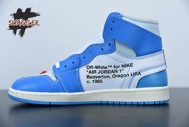 Giày Nike Air Jordan 1 UNC Off White Blue Pk God Factory