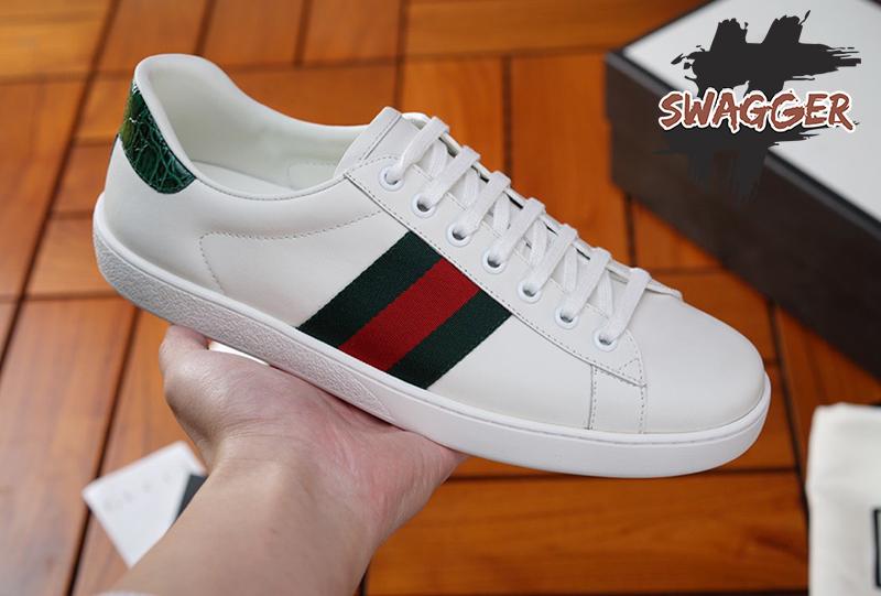 Giày Gucci Leather White Like Authentic sử dụng chất liệu chính hãng, full box phụ kiện có chip trong tem