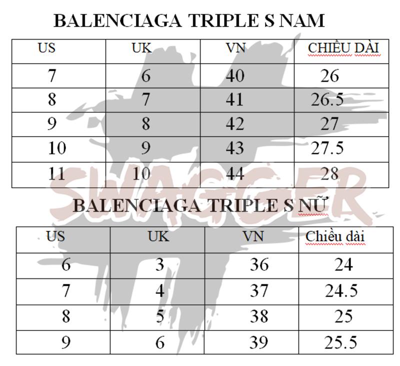 bảng đo size giày balenciaga triple s nam nữ chuẩn