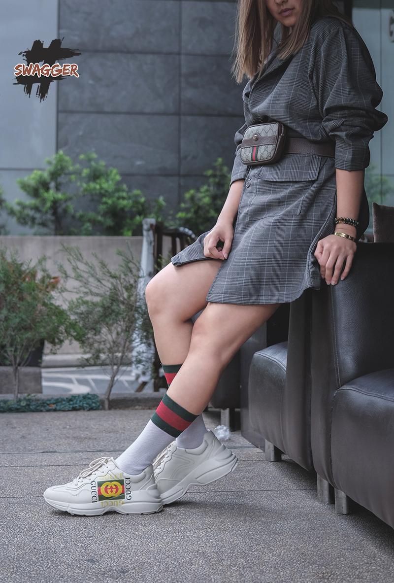 gucci rhyton sneaker sử dụng chất liệu chính hãng full box và phụ kiện chất lượng tốt nhất thị trường