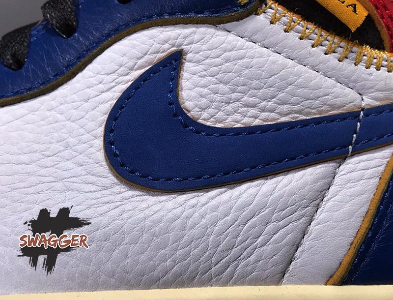 Giày Nike Air Jordan 1 Retro High Union Los Angeles Blue Toe Pk God Factory sử dụng chất liệu chính hãng chuẩn 99%