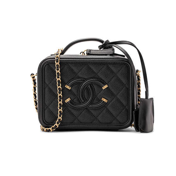 Túi Xách Chanel Vanity Case CC Filigree Caviar Quilted Small Black Like Authentic