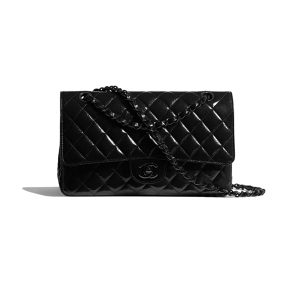 Túi Xách Chanel classic handbag Shiny Crumpled Calfskin Black Metal Black Like Authentic