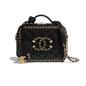 Túi Xách Chanel Small Vanity Case Goatskin & Gold-Tone Metal Black Like Authentic