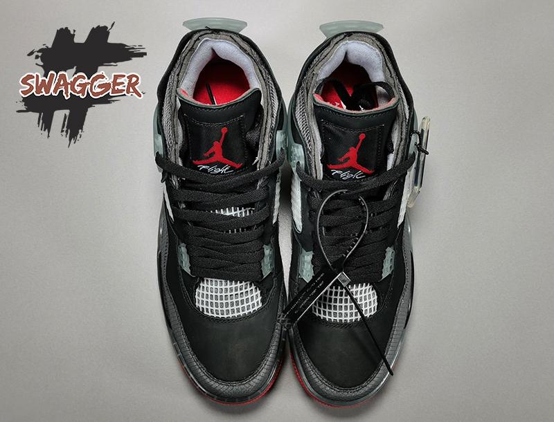 Giày Nike Air Jordan 4 Off White Bred Off White Pk God Factory, sử dụng chất liệu chính hãng chuẩn 99%