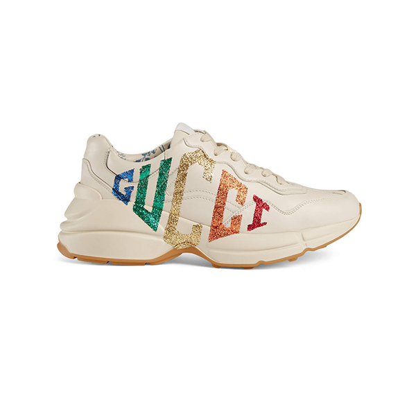 Giày Gucci Rhyton Glitter Gucci Leather Sneaker Like Authentic