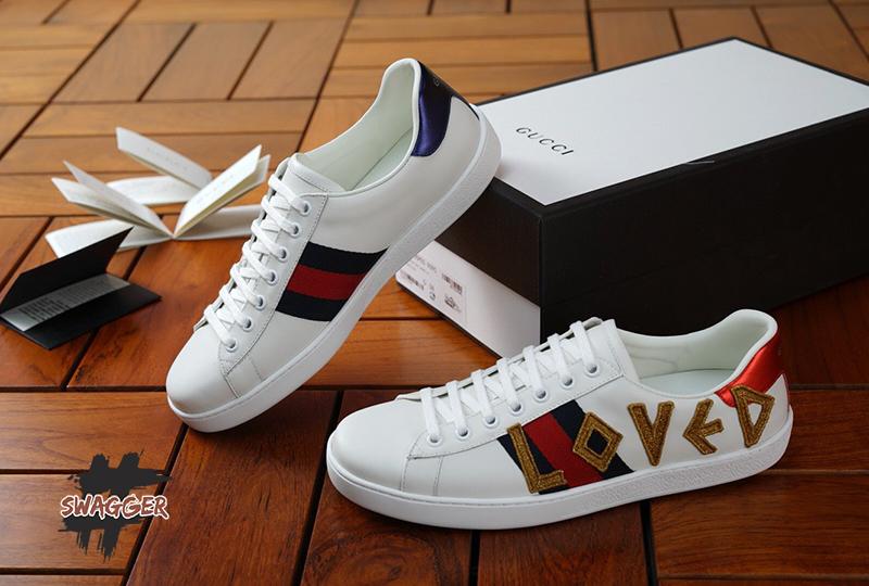 Giày Gucci White Ace Loved Like Authentic sử dụng chất liệu chính hãng chuẩn 99%