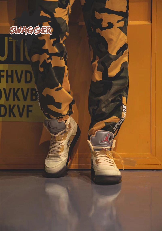 Giày Nike Air Jordan 5 Retro Off White Sail Pk God Factory, sử dụng chất liệu chính hãng chuẩn 99%