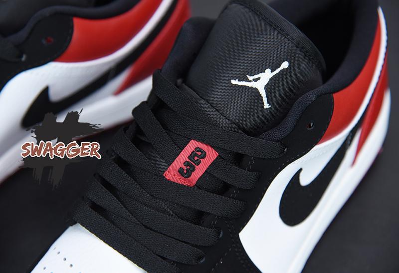 Giày Nike Air Jordan 1 Low Black Toe Pk God Factory sử dụng chất liệu chính hãng chuẩn 99%