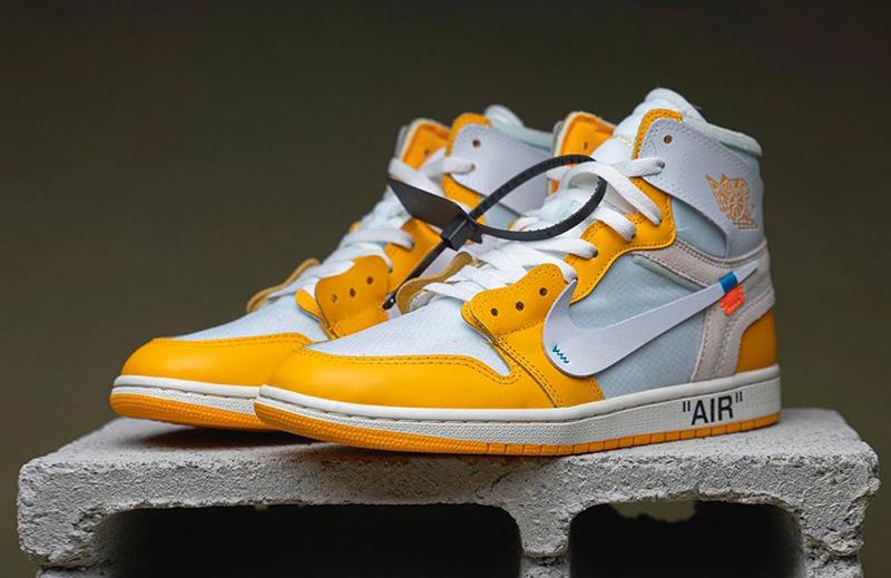 Giày Nike Jordan 1 Off White Canary Yellow Pk God Factory, sử dụng chất liệu chính hãng chuẩn 99%