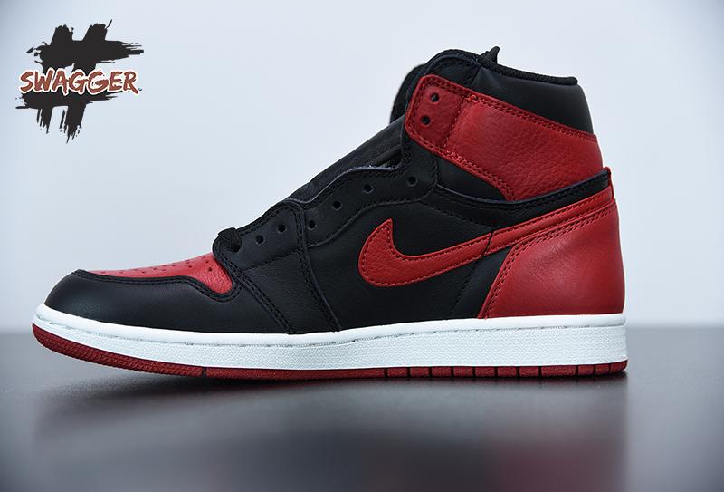 Giày Nike Jordan 1 Retro Bred Banned 2016 Pk God Factory sử dụng chất liệu chính hãng chuẩn 99%