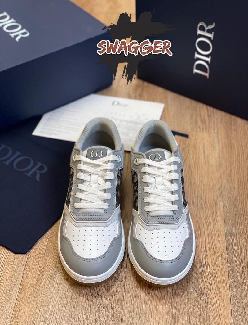 Giày Dior B27 Low Top Gray Sneaker Like Authentic sử dụng chất liệu da bê, full box và phụ kiện