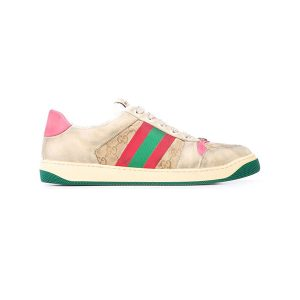 Giày Gucci Screener Leather Sneaker Pink Like Authentic
