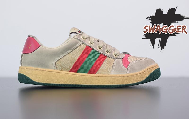 Giày Gucci Screener Leather Sneaker Pink Like Authentic sử dụng chất liệu chính hãng chuẩn 99%