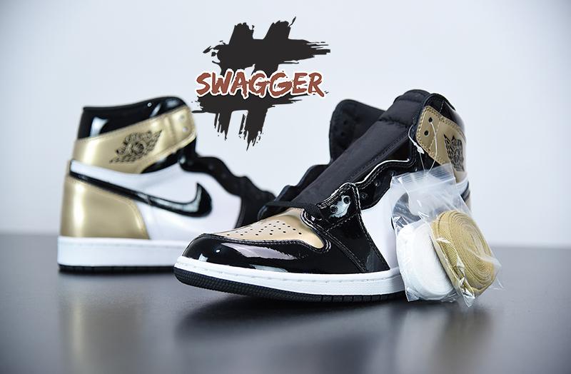 Giày Nike Air Jordan 1 Patent Gold Toe Pk God Factory
