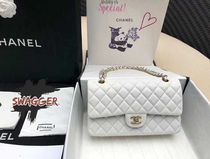 Túi Chanel Classic Handbag Lambskin White Gold Like Authentic