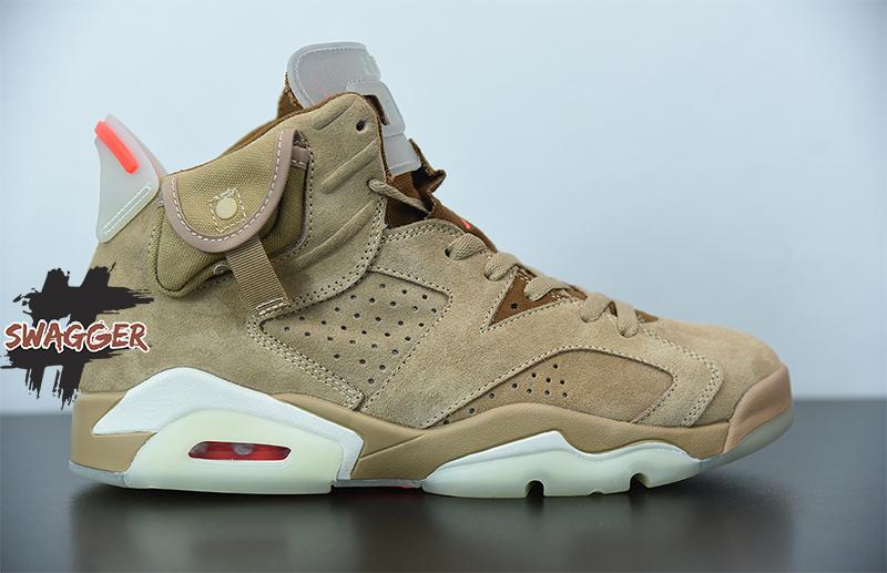 Giày Nike Air Jordan 6 Travis Scott British Khaki Pk God Factory sử dụng chất liệu chính hãng, chuẩn 99% full box và phụ kiện, cam kết chất tốt nhất hiện nay, bao check