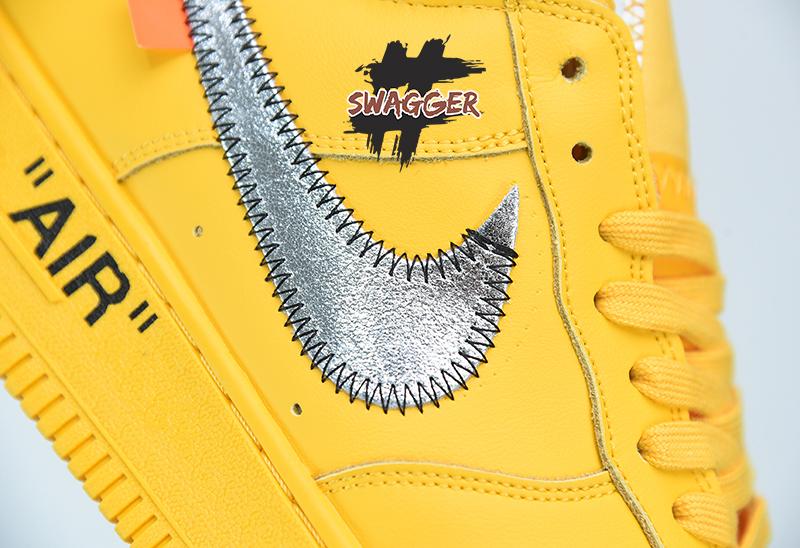 Giày Nike Air Force 1 OFF White University Gold Metallic Silver Pk God Factory sử dụng chất liệu chính hãng chuẩn 99% full box và phụ kiện