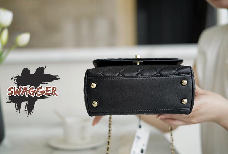 Túi Xách Chanel Mini Flap Bag With Top Handle Black Like Authentic sử dụng chất liệu chính hãng, sản xuất hoàn toàn bằng thủ công, chuẩn 99% cam kết chất lượng tốt nhất