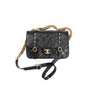 Túi Xách Chanel Flap Bag Aged Calfskin & Gold Tone Metal Black Like Authentic
