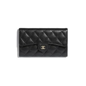 Ví Chanel Grained Calfskin & Gold-Tone Metal Black Classic Flap Wallet Like Authentic
