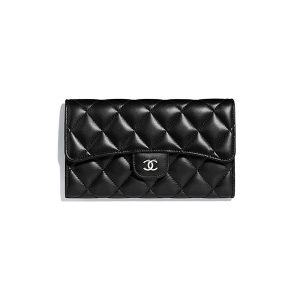 Ví Chanel Classic Flap Wallet Black Lambskin Silver Tone Metal Like Authentic